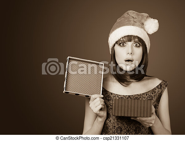 Portrait of a beautiful women with gift box.