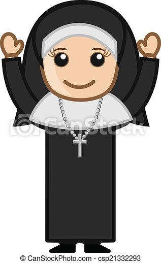EPS Vectors of Happy Cute Cartoon Nun Character - Cartoon ...