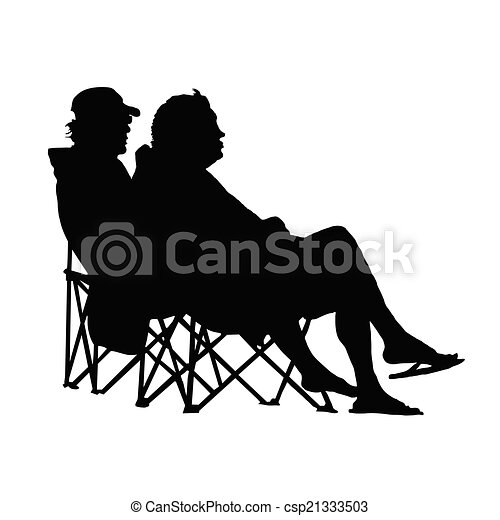 Vector Clipart Of Couple Sitting And Enjoying Vector