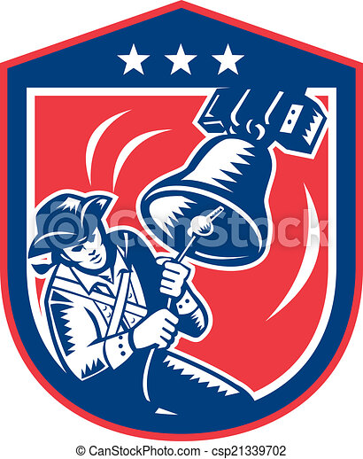 Vector Clipart of American Patriot Ringing Liberty Bell Woodcut ...