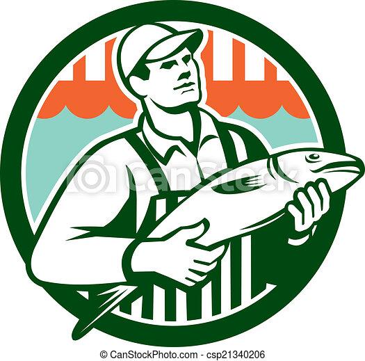 Clipart Vecteur de poissonnier, fish, Cercle, tenue, retro ...