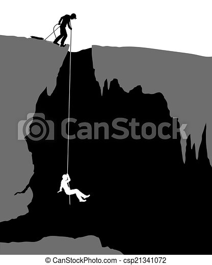 Editable vector illustration of cavers exploring a cave