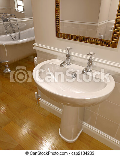 3d render of contemporary bathroom  - csp2134233