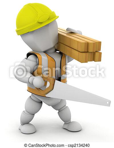 construção, trabalhador - csp2134240