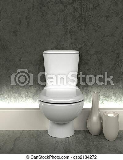 3d render of contemporary toilet - csp2134272