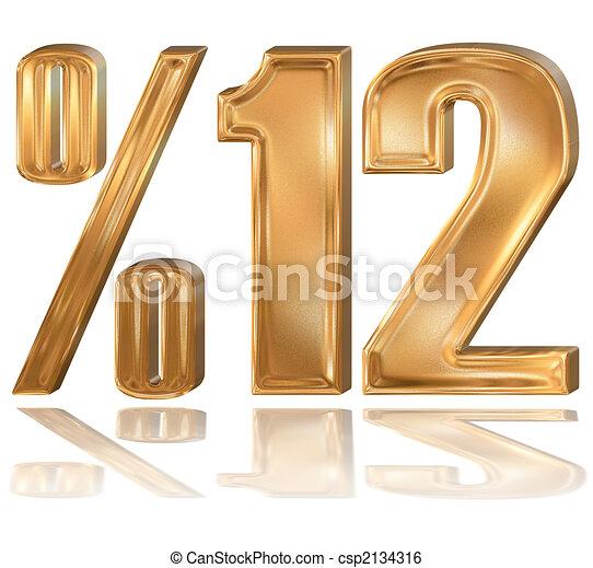 3d golden digit, %, 1, 2. - csp2134316