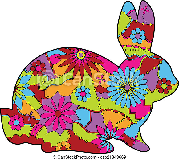 clip art vecteur de lapin dans paques couleurs 2 vecteur lapin dans csp21343669. Black Bedroom Furniture Sets. Home Design Ideas