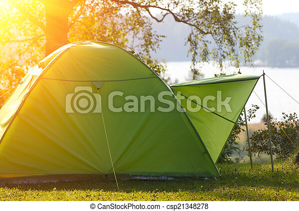 Camping in the Forest - csp21348278