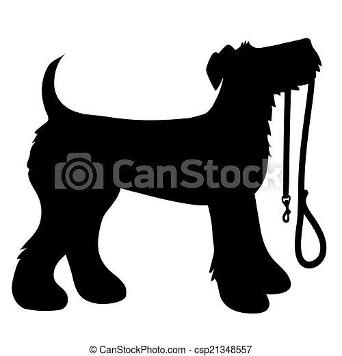 Clipart Vector of AIredale Terrier Leash - A cartoon black ...