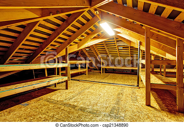 Stock Photographs Of Empty Attic With Storage Shelves