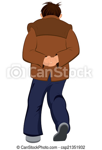Vectors of Cartoon man in brown jacket walking away back ...