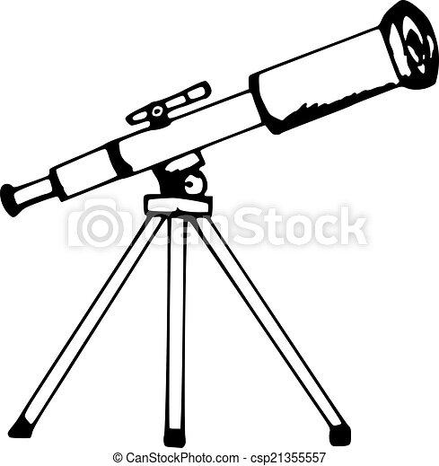 Clipart vectorial de telescopio - mano hecha, ilustración ...