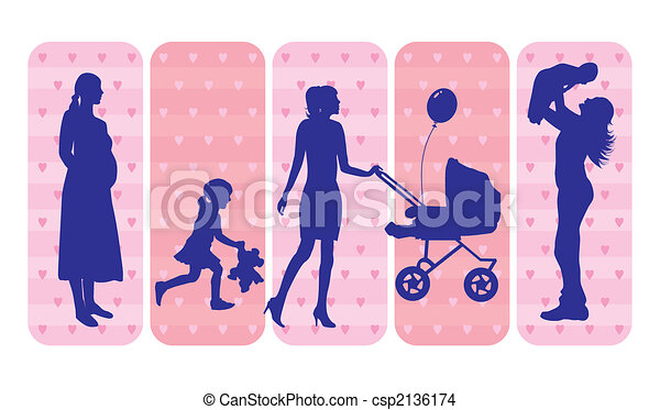 Mothers and children silhouettes - csp2136174