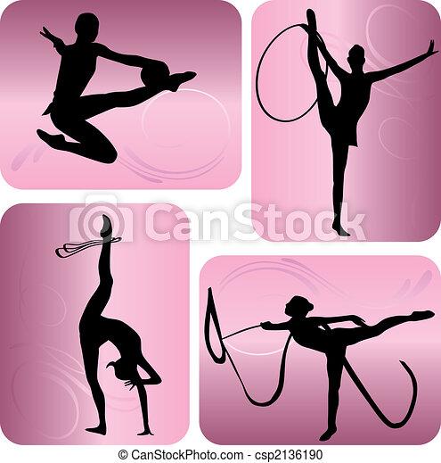 Rhythmic gymnastics silhouettes - csp2136190