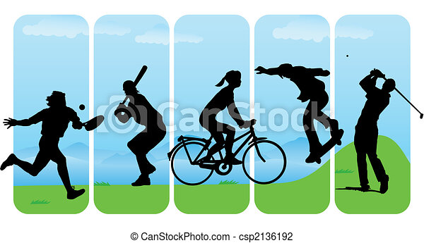 Vector Illustration of Leisure Sport silhouettes - Sport ...