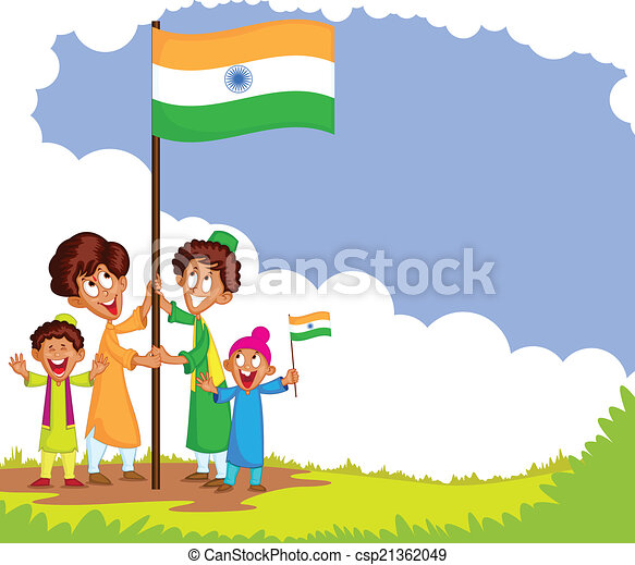 EPS Vector of Indian kid hoisting flag of India in vector ...
