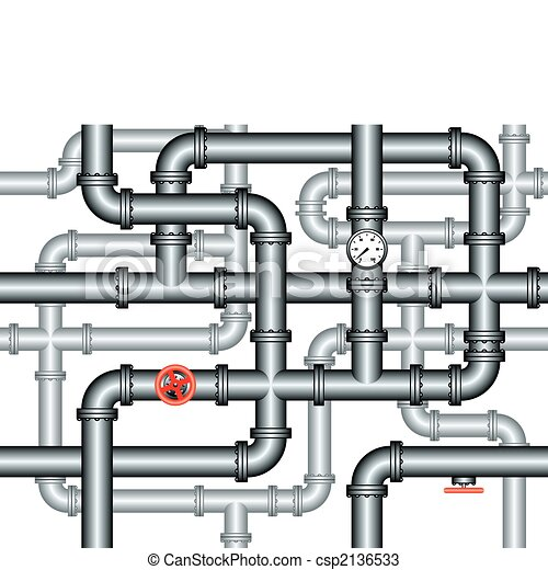 seamless maze of plumbing pipes - csp2136533