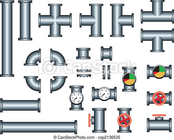 vecteur clipart de plomberie tuyau construction ensemble pipeline csp2136535. Black Bedroom Furniture Sets. Home Design Ideas