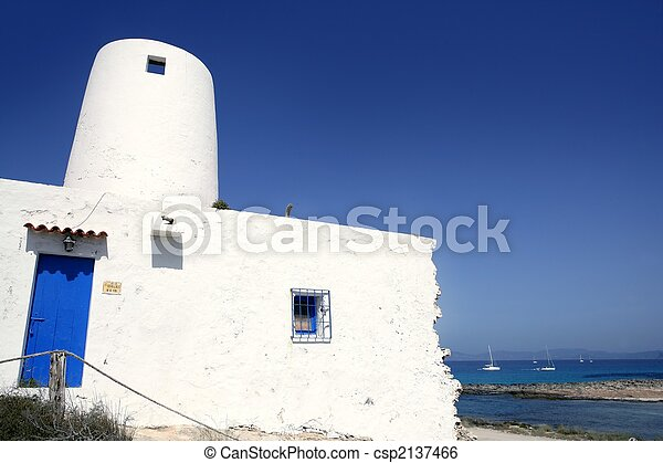 Balearic islands architecture white mill - csp2137466