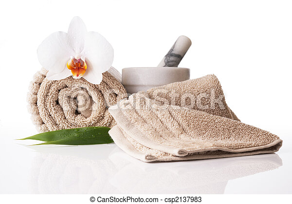 Spa treatment towel orchid pestle and mortar - csp2137983