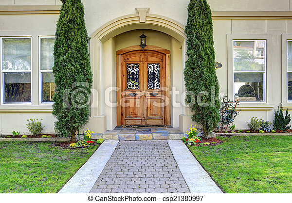 Luxury house entrance porch with walkway