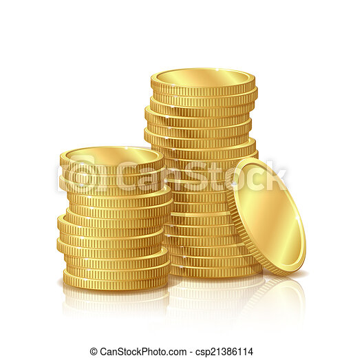 Stack of Gold Coins, isolated on white background - csp21386114