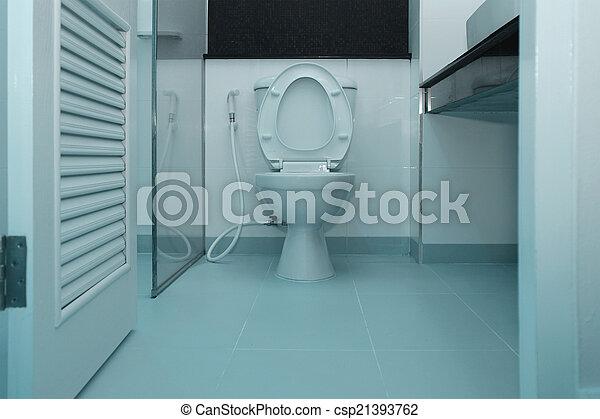 White toilet bowl in a bathroom - csp21393762