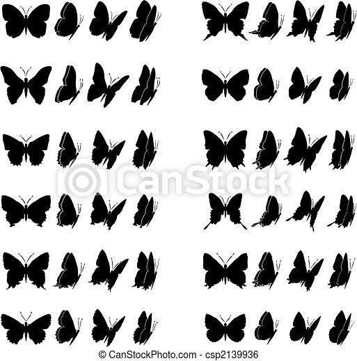 Clip art vecteur de papillon 1 collection douze papillons collection csp2139936 - Dessin petit papillon ...