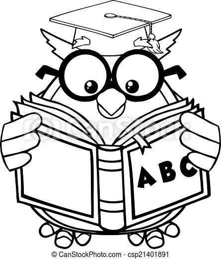 Black And White Wise Owl Teacher Cartoon Mascot Character Reading A ...