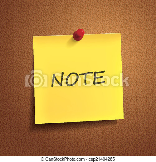 Vector of note word on post-it over brown background csp21404285 ...
