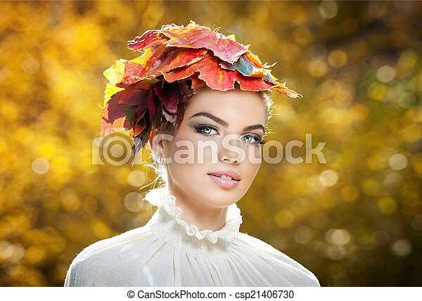 Girl autumnal makeup and hairstyle