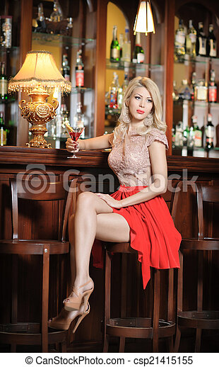 Stock Images Of Blonde In Red At Vintage Bar Attractive