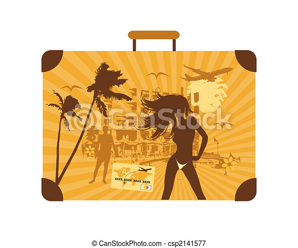 Summer holiday, suitcase - csp2141577