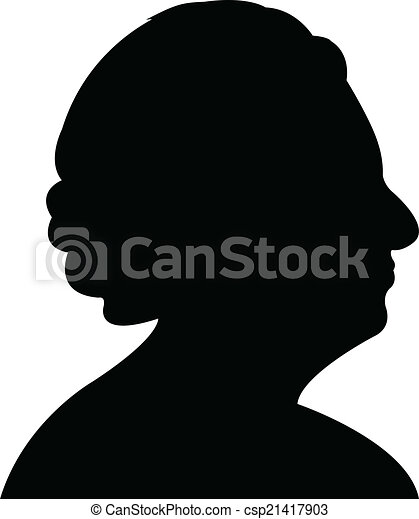 Vector Clipart of an old lady head silhouette vector - an old lady ...