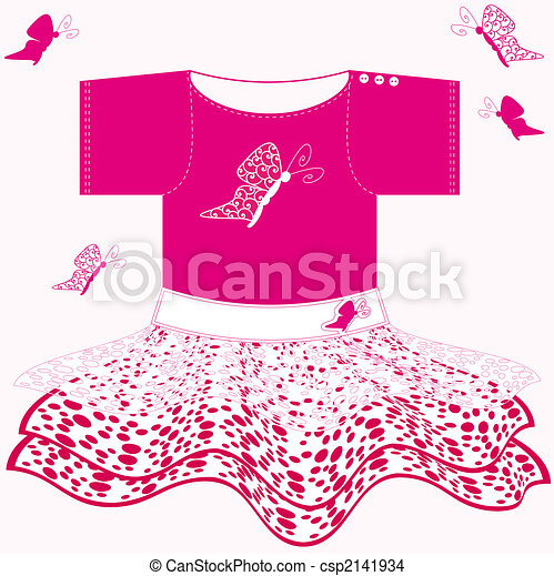 Drawing of baby girl dress - sweet pink baby dress with white lace ...