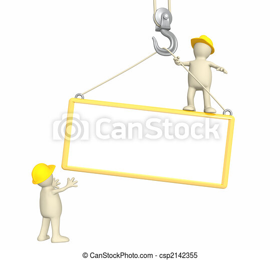 3d builders, lowering a frame on a hook - csp2142355
