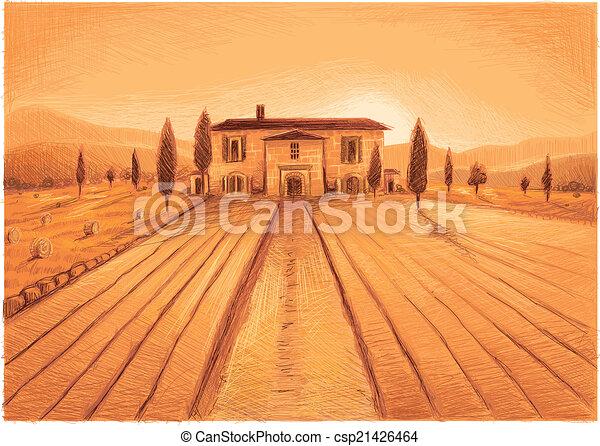 Clipart vettoriali di fattoria toscana toscana era for Piani di fattoria stonegate
