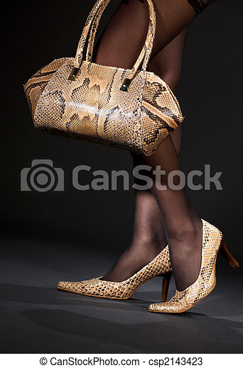 snakeskin shoes and handbag - csp2143423