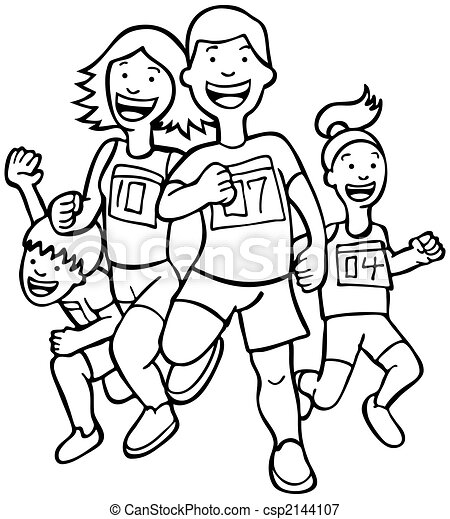 Family Run Line Art - csp2144107