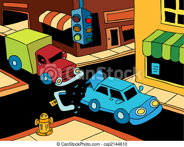 Cartoon Car Crash With Driver Ejected