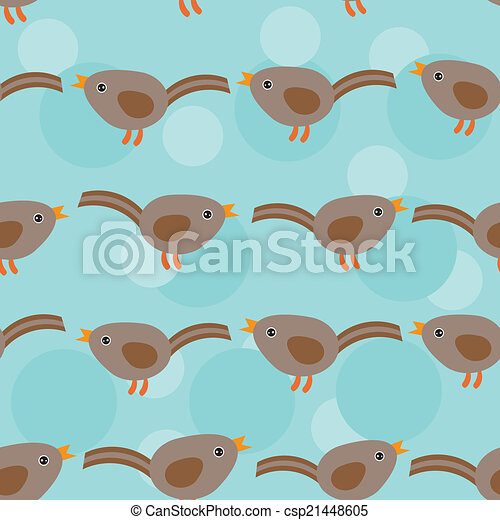 Birds Seamless pattern with funny cute animal on a blue backgrou