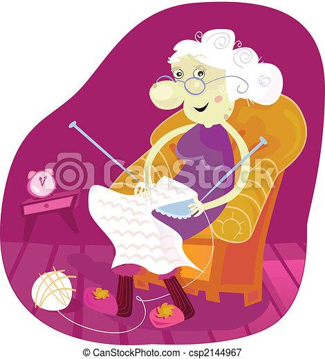 Illustrations vectoris es de grand m re gradmother s ance dans fauteuil et tricot - Dessin grand mere ...