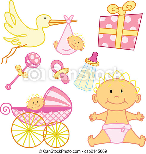 Cute New born baby girl graphic elements. - csp2145069