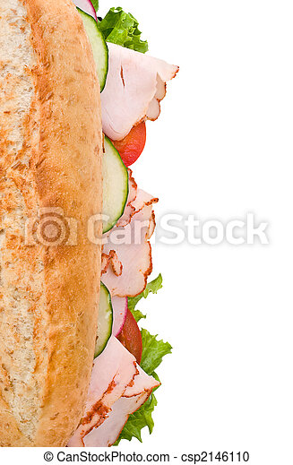 Turkey sandwich top view isolated on white - csp2146110