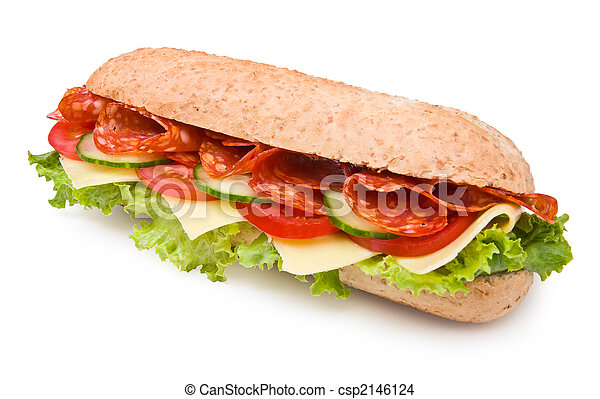 Fresh spicy deli-style salami sandwich isolated on white - csp2146124
