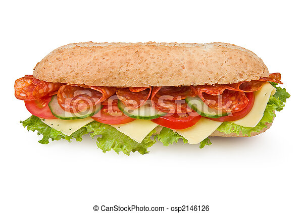 Fresh deli-style salami sandwich isolated on white - csp2146126