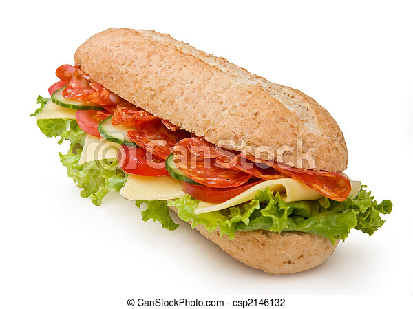 Salami submarine sandwich isolated on white - csp2146132