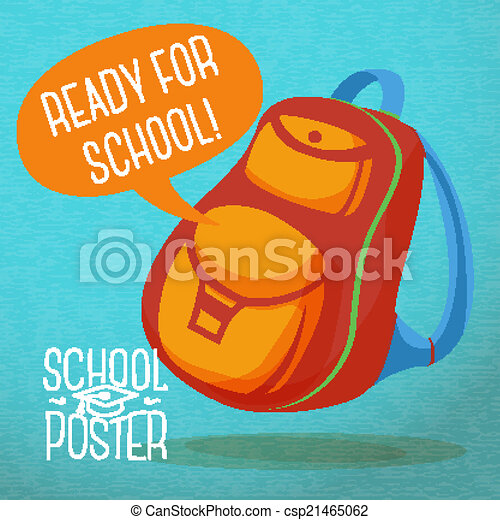 Clip Art Vector of Cute education poster - backpack, with speech ...