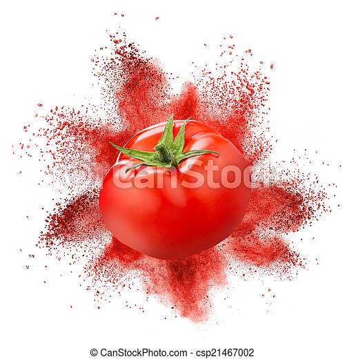 Tomato with red powder explosion isolated on white - csp21467002