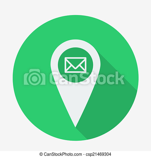 vector clipart of flat style geo tag icon with long shadow